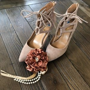 Nine West strappy lace up ankle tan suede pumps